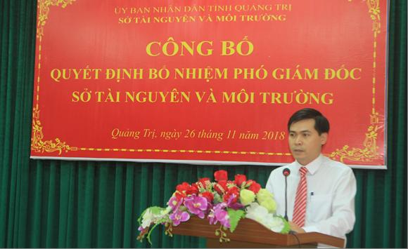 Đ/c Võ Quốc Hoàng - Phó Giám đốc Sở TN&MT phát biểu nhận nhiệm vụ